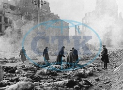 WORLD WAR II: DRESDEN. Identifying bodies in the rubble of Dresden,  Germany,  following the firebombing by Allied air forces,  14 February 1945.